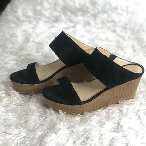 Marc Fisher Black Wedge Sandals